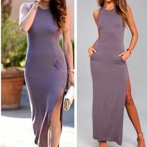 Lulus dusty purple shoes sword slit maxi dress
